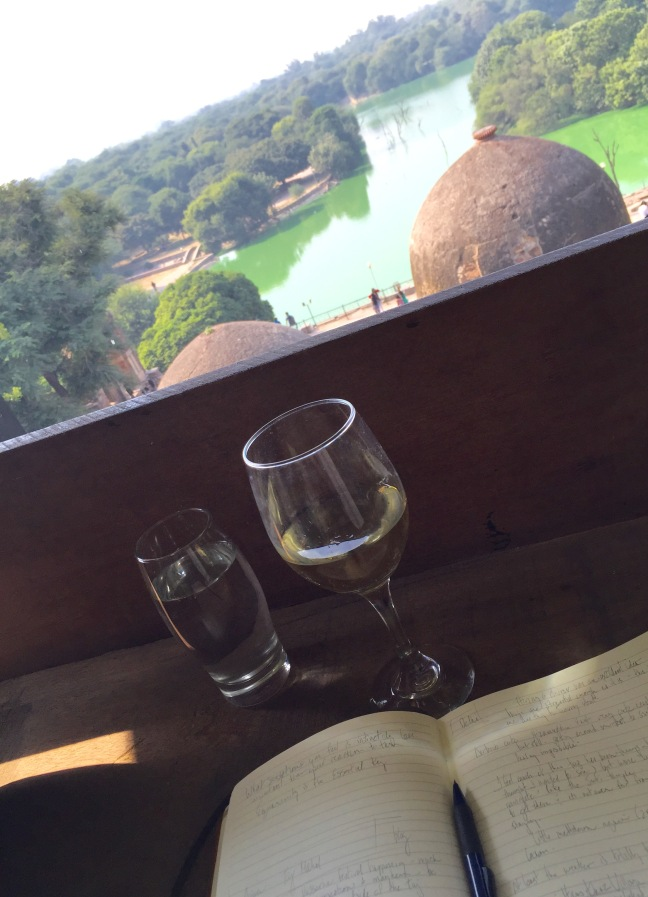 Afternoon food and relaxation at Mia Bella, overlooking the lake and adjoining ruins.