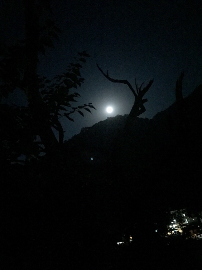 Moonrise over Rishikesh.