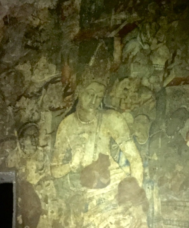 The most famous painting at Ajanta, an enormous fresco of Padmapani.