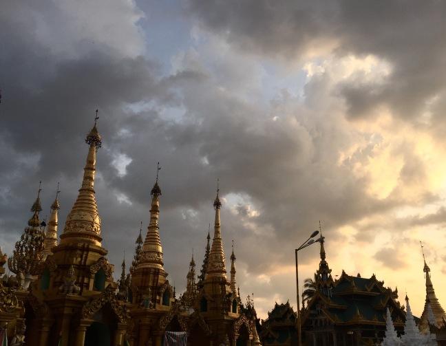 Pagodas at dusk.