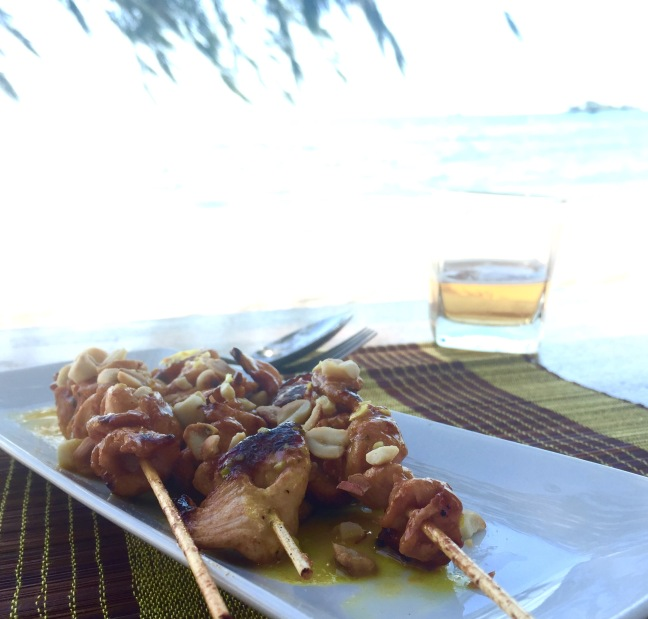Satay and a beer. Yes.