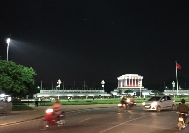 Ho Chi Minh Mausoleum at night.