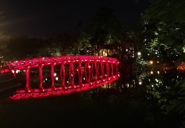 The Red Bridge at Hoan Kiem Lake.