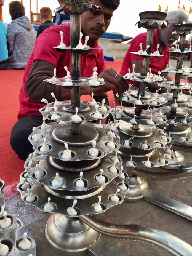 Candelabras being readied