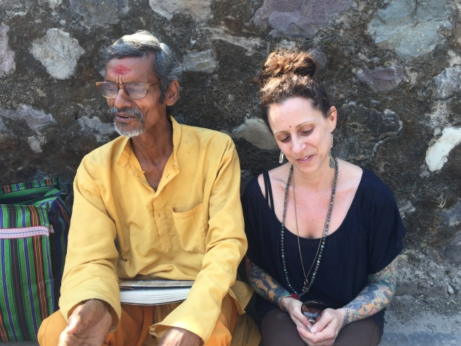 A poignant moment with a man named Devananda. I met him 15 months ago in a completely different part of the city and our encounter had touched me. I recognized him immediately, but was shocked that he too remembered me ( the woman from US California, yes?) Thank you universe, for crossing our paths again