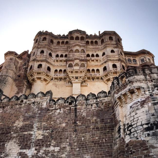 The imposing Mehrangarh Fort as seen from its approach.