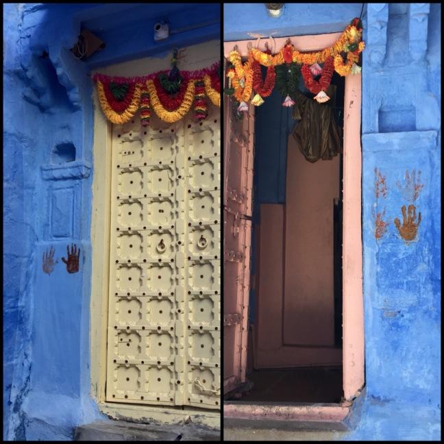 Doorways and handprints.